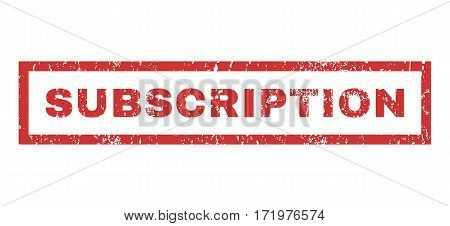 Subscription text rubber seal stamp watermark. Tag inside rectangular banner with grunge design and scratched texture. Horizontal vector red ink emblem on a white background.
