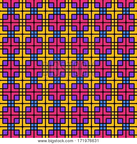 Seamless Geometric Colorful Pattern Of Squares And Flowing Lines.