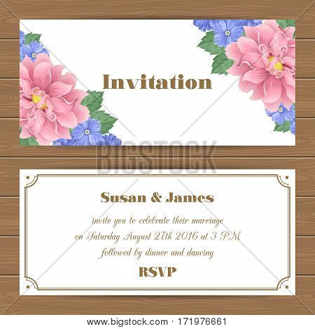 Wedding invitation, Save the Date card with flowers. Vector Illustration