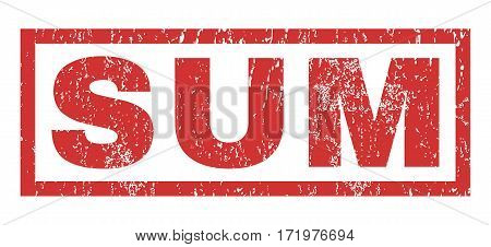 Sum text rubber seal stamp watermark. Tag inside rectangular banner with grunge design and dirty texture. Horizontal vector red ink sign on a white background.