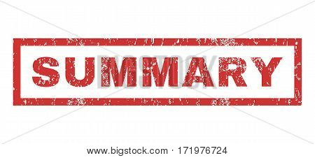 Summary text rubber seal stamp watermark. Tag inside rectangular shape with grunge design and unclean texture. Horizontal vector red ink emblem on a white background.
