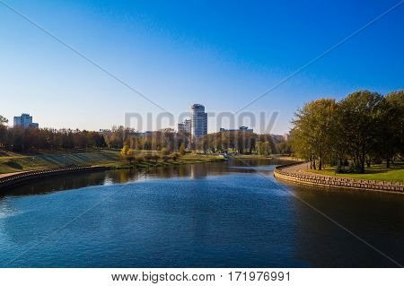 Minsk Belarus autumn view of the Pobediteley and river Svisloch 18/10/2016 Editorial