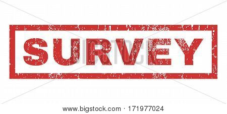 Survey text rubber seal stamp watermark. Tag inside rectangular banner with grunge design and unclean texture. Horizontal vector red ink sticker on a white background.