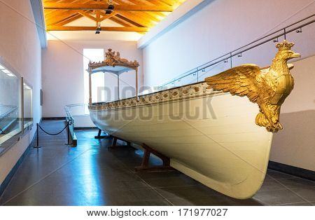Naples Italy - August 4 2015: Certosa Di San Martino a Royal barge in the naval museum area