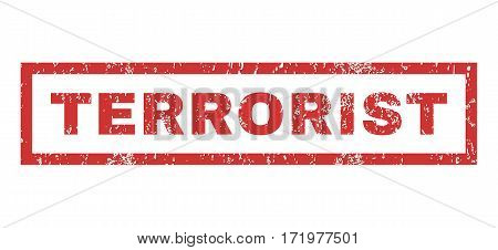 Terrorist text rubber seal stamp watermark. Caption inside rectangular shape with grunge design and scratched texture. Horizontal vector red ink emblem on a white background.