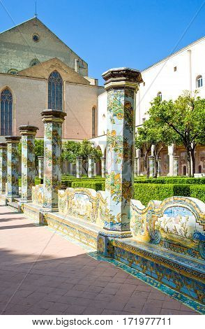 Naples Italy - March 14 2008: The ceramic decorations of the Santa Chiara Monastery cloister