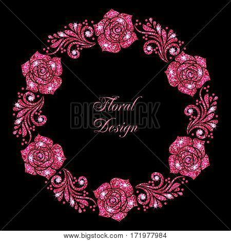 Stylized floral ornament made of pink shiny confetti. Vector illustration