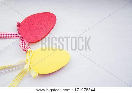 Decorative Colorful Flat Easter Eggs On White Background