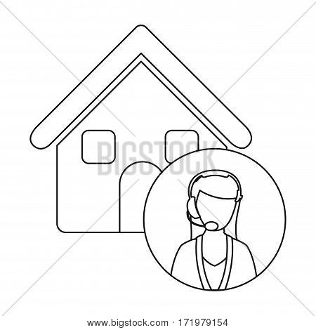 monochrome contour house with female customer service vector illustration