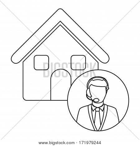 monochrome contour house with male customer service vector illustration