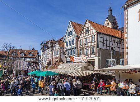 People Visit  Public Market In Gelnhausen