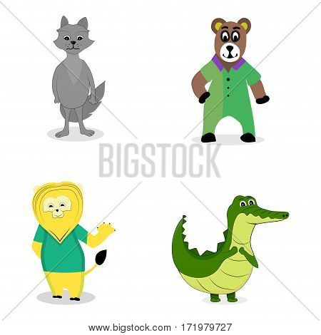 Characters predatory animals. Crocodile and wolf lion and bear. Vector illustration