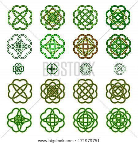 Set Four Leaf Clover Shaped Knot In Green Colours, Celtic Style, Vector Illustration. St. Patrick's