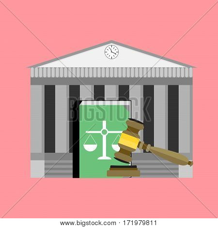 Institute of court and law. Legislation punishment mallet and book. Vector illustration