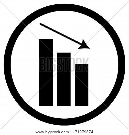Chart down icon. Finance stock decrease and crash vector illustration