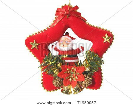 christmas santa claus inside the red star isolated