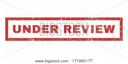 Under Review text rubber seal stamp watermark. Caption inside rectangular banner with grunge design and dust texture. Horizontal vector red ink sticker on a white background.