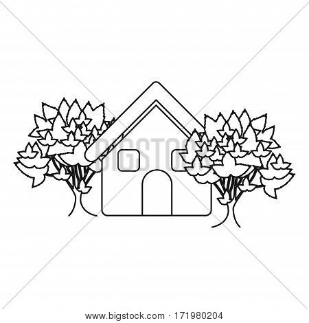 monochrome contour house with trees vector illustration