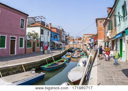 Beautiful Colored Houses Of The Old Fishermans  City Burano In The Laguna Of Venice