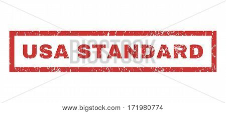 USA Standard text rubber seal stamp watermark. Caption inside rectangular banner with grunge design and unclean texture. Horizontal vector red ink sign on a white background.