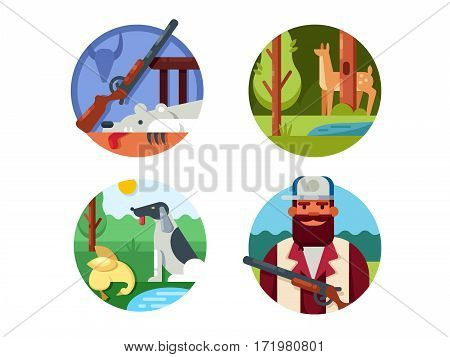 Hunting set. Hunter with gun and dog. Vector illustration. Pixel perfect icons size - 128 px