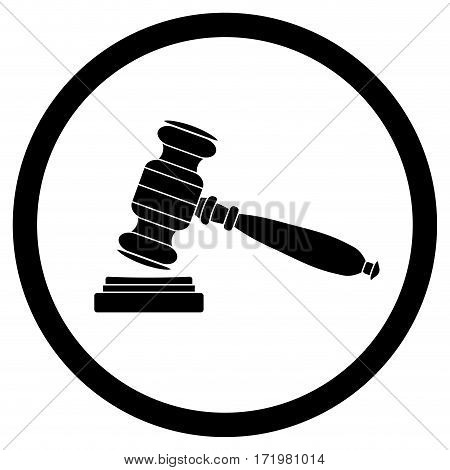 Gavel icon black. Hammer for verdict legislation. Vector illustration