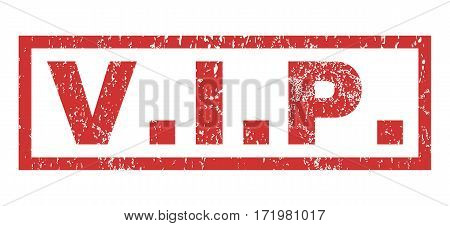 V.I.P. text rubber seal stamp watermark. Tag inside rectangular banner with grunge design and unclean texture. Horizontal vector red ink sign on a white background.