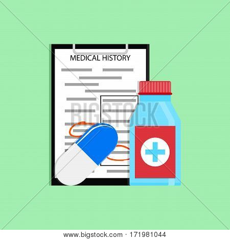 Patient treatment concept. Medication and information about med history. Vector illustration
