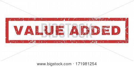 Value Added text rubber seal stamp watermark. Caption inside rectangular shape with grunge design and dust texture. Horizontal vector red ink sign on a white background.