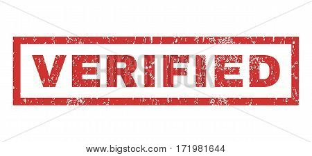 Verified text rubber seal stamp watermark. Caption inside rectangular banner with grunge design and dirty texture. Horizontal vector red ink emblem on a white background.