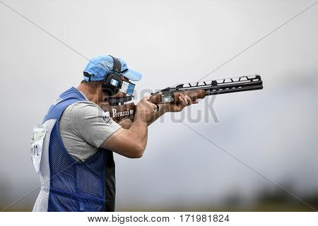Rio Brazil - august 10 2016: BROL Enrique (GUA) during Double Trap Men at Olympic Games 2016 in Olympic Shooting Centre Deodoro