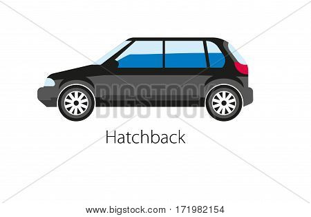 Hatchback automobile isolated on white. Hatchback is car body configuration with a rear door that swings upward to provide access to cargo area. Realistic vector illustration of black auto model