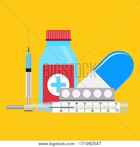 Treatment of influenza injections and pills. Medical treatment medicine vaccination. Vector illustration