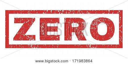 Zero text rubber seal stamp watermark. Caption inside rectangular shape with grunge design and dirty texture. Horizontal vector red ink emblem on a white background.