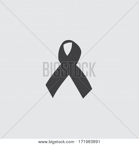 Cancer ribbon icon in a flat design in black color. Vector illustration eps10