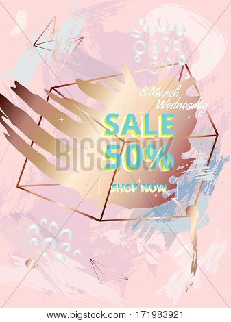 Banner design in style 80s. Sale 50. March 8, International Womens Day. Pink pastel background. Texture a brush. Geometric shapes. Hand drawn spots. Memphis style. Bronze and copper. Vector.