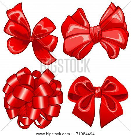 Vector of set with red bows on white background