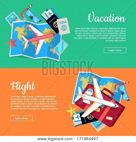 Vacation and flight web banners. Aircraft, luggage, world map, air tickets, passport, visa, diving mask, phone, starfish flat vectors. For travel agency, airline company landing page design