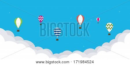 Baloons in the sky. Travel concept background
