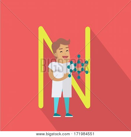 Science alphabet vector concept. Flat style. ABC element. Scientist man in white gown standing with atomic structure in hand, letter N behind. Educational glossary. On red background with shadow