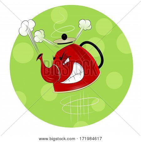 Fun cartoon boiling kettle on green design background. Easy to edit