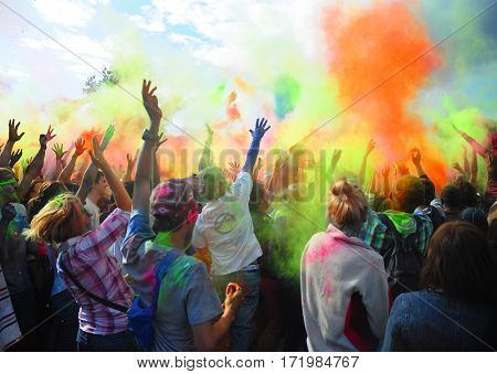 KIEV UKRAINE - February 13 2017: Holi Festival Of Colours. Holi colour festival. Holi festival color explosion