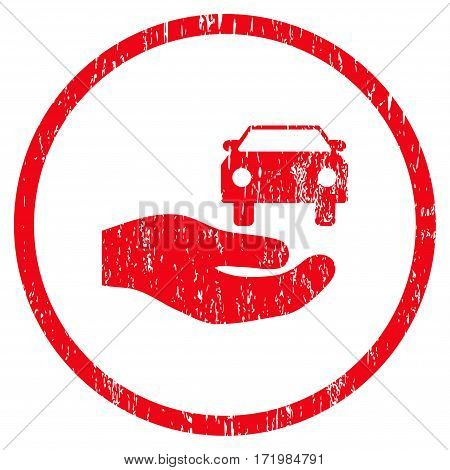 Car Gift Hand grainy textured icon for overlay watermark stamps. Rounded flat vector symbol with dirty texture. Circled red ink rubber seal stamp with grunge design on a white background.