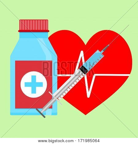 Injection of adrenaline to heart. Medical cure for health heart. Vector illustration