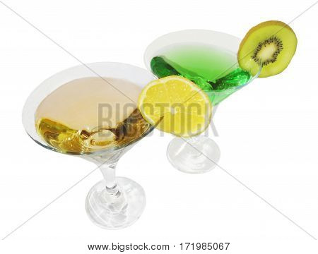 two glasses of green and yellow cordials decorated by a slice of a lemon and a kiwi isolated