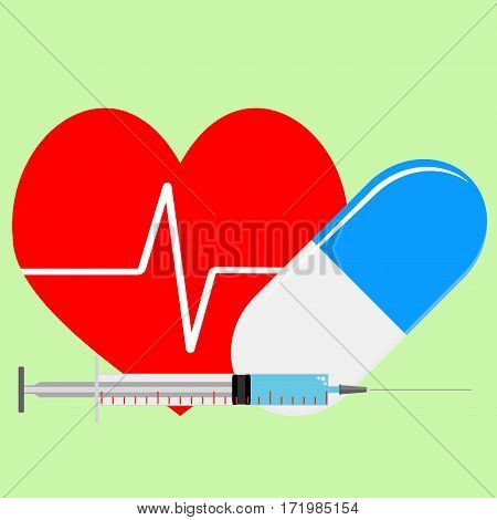Arrhythmia treatment. Help for heart syringe with adrenaline injection vector illustration