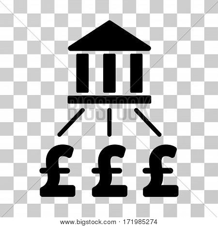 Bank Pound Payments vector pictogram. Illustration style is a flat iconic black symbol on a transparent background.