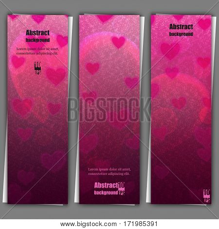 Set of banner templates with love background. Eps10 Vector illustration