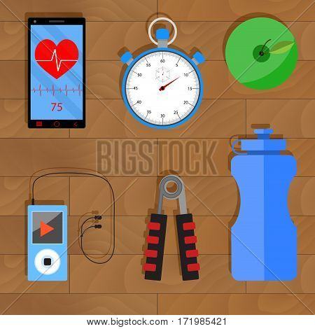 Accessories for training. Apple and player with headphones phone and heart rate monitor stopwatch and water bottle vector illustration