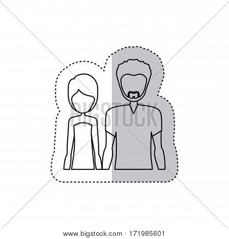sticker monochrome contour half body with man with beard and woman with short hair vector illustration